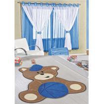 Kit Decoração Urso Baby p/ Quarto Infantil = Cortina Juvenil 2 Metros + Tapete Pelúcia - Azul Royal - Guga Tapetes