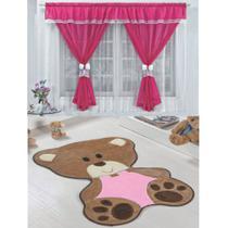 Kit Decoração Vitória Quarto de Menina = Cortina Voal 2 Metros + Tapete Pelúcia Bebê Ursinha - Pink Rosa - Casa Scarpa