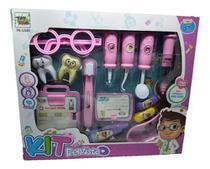 Kit Dentista Infantil Brinquedo 14 Peças Educativo Rosa - toys