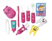 Kit Dentista Infantil Hipopotamo Rosa 10pc Hz803 - Esm