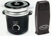 Kit Depilação Termocera 400gr Com Refil Preta + Aquecedor de Cera Roll-on Preto Mega Bell -