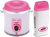 Kit Depilação Termocera 400gr Sem Refil Branca Com Rosa + Aquecedor de Cera Roll-on Rosa Mega Bell -