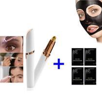 Kit Depiladora Sobrancelha Indolor Instantâneo + 04 Máscara Limpeza Facial Preta Remove Cravos - Flawless Brows