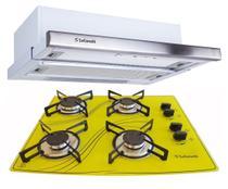 Kit Depurador Embutir 60cm Cooktop 4 Bocas Amarelo Safanelli -