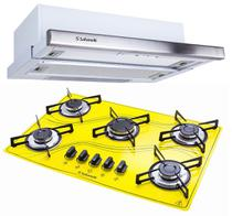 Kit Depurador Embutir 60cm Cooktop 5 Bocas Amarelo Safanelli -