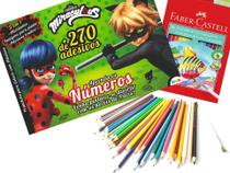 Kit desenho - prancheta para colorir com adesivos miraculous ladybug + lapis de cor 36 aquarelavel faber-castell - Editora On Line
