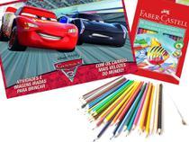 Kit desenho - prancheta para colorir disney carros 3  + lapis de cor 36 aquarelavel faber-castell - Editora On Line