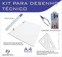 Kit Desenho Técnico Prancheta a4 Acrilico Cristal Engenharia Arquitetura Par Esquadro 26 cm Compasso Cis 303 - Fenix -