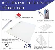 Kit Desenho Técnico Prancheta Engenharia ARQUITETURA A3 FORMICA Esquadro 32 Compasso 303 GABARITO BORRACHA Regua 30 CM - Fenix
