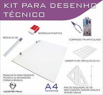 Kit Desenho Técnico Prancheta Engenharia ARQUITETURA A4 FORMICA Esquadro 26 cm Compasso 303 GABARITO BORRACHA Regua 30 C - Fenix
