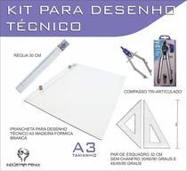 Kit Desenho Técnico Prancheta Engenharia Arquitetura Edificações A3 Formica Par Esquadro 32 cm Compasso Cis 303 Regua 30 - Fenix