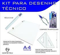 Kit Desenho Técnico Prancheta Engenharia Arquitetura Edificações a4 Formica Par Esquadro 26 cm Compasso Cis 303 Regua 30 - Fenix