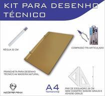 Kit Desenho Técnico Prancheta Engenharia Arquitetura Edificações a4 NATURAL Par Esquadro 26 cm Compasso Cis 303 Regua 30 - Fenix