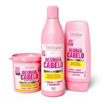 Kit Desmaia Cabelo com Shampoo 500ml, Máscara 350g  e Condicionador Forever Liss -