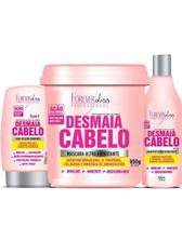 Kit Desmaia Cabelo Forever Liss Shampoo 500ml Leave-in 150g e Máscara 950g