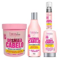 Kit Desmaia Cabelo Forever Liss Shampoo 500ml, Máscara 950g, Leave-in 150g e Sérum 60ml