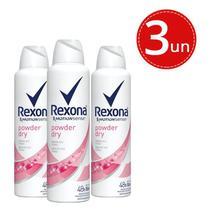 Kit Desodorante Aerosol Rexona Powder Dry 150ml/90g - 3 Unidades -
