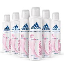 Kit Desodorante Aerossol Adidas Feminino Cool & Care Control com 150mL com 6 unidades -