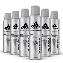 Kit Desodorante Aerossol Adidas Invisible Masculino com 150ml com 6 unidades -