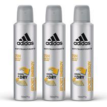 Kit Desodorante Aerossol Adidas Masculino Cool & Care Sport Energy com 3 UN -