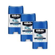 Kit Desodorante Gillette Antitranspirante Clear Gel Antibacterial 82g com 3 Unidades -