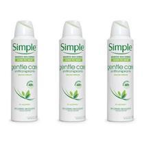 Kit desodorante Simple gentle Care com 3 unidades de 150ml cada. - Unilever