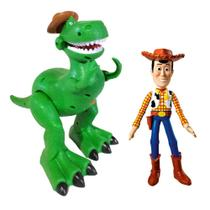 Kit Dinossauro Rex que Anda e Boneco Woody Toy Story Vinil - Attic