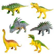 Kit Dinossauros T. Rex Estegosauro Braquiossauro Triceratops Anquilossauro e Velociraptor - Goal Kids