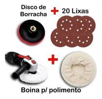 Kit Disco De Borracha Auto Adesiva Colante Furadeira Lixadeira + 20 Lixa + Boina - Starfer