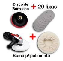 Kit Disco De Borracha Auto Adesiva Colante Para Furadeira Lixadeira + 20 Lixas + Boina - Starfer