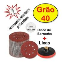 Kit Disco De Borracha Auto Adesivo Colante 125mm + 5 Lixas  Grão 40 Para Furadeira Lixadeira - Starfer