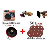 Kit Disco De Borracha Auto Adesivo Colante Furadeira Lixadeira 125 mm + 50 Lixas - Starfer