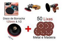 Kit Disco De Borracha Auto Adesivo Colante Furadeira Lixadeira + 50 Lixas - Starfer