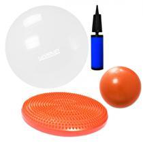 Kit Disco de Equilibrio + Bola 65 Cm com Mini Bomba + Overball 25 Cm  Liveup -