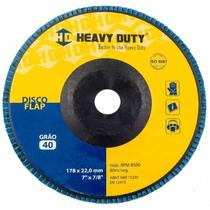 KIT Disco Flap 7 178 X 22.2  G-40 Curvo Inox Heavy Duty 10UN -