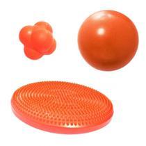 Kit Disco Inflavel de Equilibrio + Overball 25cm + Bola de Tempo e Reacao  Liveup -