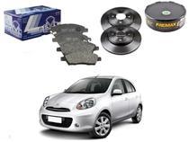 Kit disco pastilha freio dianteiro syl nissan march 1.0 1.6 2012 a 2014 -