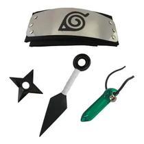 Kit do Naruto incluso Bandana Vila da Folha Preta + Kit Ninja + Colar Tsunade - Cosplay - Anime Play