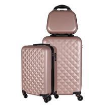 Kit duas malas bordo com frasqueira de mao em ABS - Roncalli Blitz -