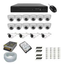 Kit DVR 16 Canais Multi HD + 12 Câmeras Dome AHD + 4 Câmeras AHD  Externa c/ Hd 1 Tera - Network