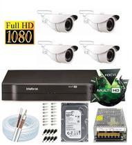 Kit Dvr 4 Canais Intelbras 4 Câmeras Full Hd 1080p Sem Cabo - Dvr Intelbrás