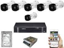Kit Dvr 8 Canais Intelbras Mhdx E 6 Cameras Hd Vhd 1010 -