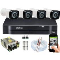 KIT DVR Intelbras 4 Canais MHDX + 4 câmeras Infravermelho AHD 720p Alta Resolução -