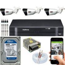 Kit Dvr intelbras de 4 canais com 03 camera  HD -
