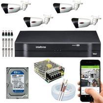 Kit Dvr intelbras de 4 canais com 04 camera  HD -