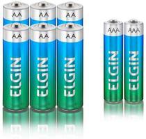 Kit Econômico de Pilhas Alcalinas com 6X AA e 2X AAA, Elgin, Baterias -
