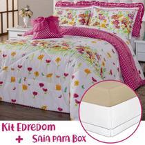 Kit Edredom c/ Saia Box Vivi Floral Pink/Branco Queen 08 Peças - Dourados Enxovais