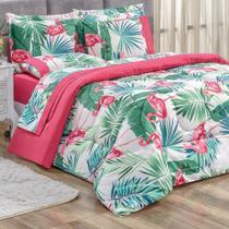 Kit Edredom Casal Diamond Dupla Face Micro Percal 200 Fios 3 Peças - Pink Verde Flamingo - Casa Scarpa