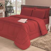 954db91ef0 Kit Edredom Confort Casa Dona Dupla Face Solteiro 4 Pçs com Lençol Vermelho