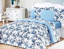 40fb43fdd6 Kit Edredom Murano King Azul Floral com 3 peças - Aquarela